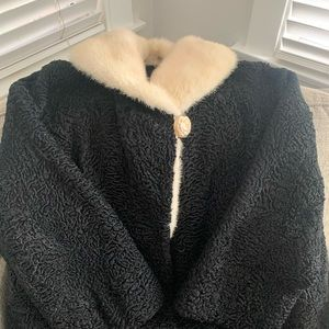 Jackets & Blazers - Curly Sheep fur coat with mink collar